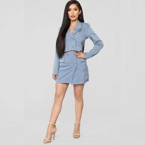 NWOT FashionNova Pinstripe Set in Grey